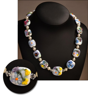2015 Drawing Hand made glass lampwork bead necklace with silver clasp