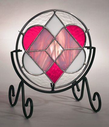 2015 Drawing- stained glass heart shape 8 inches with wrought iron stand